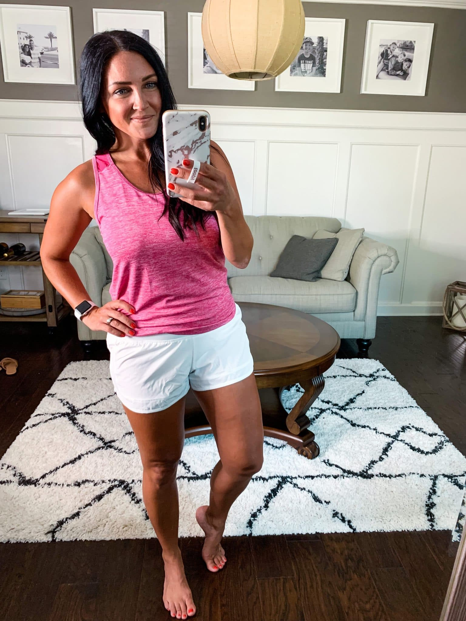 white athletic shorts, tie back athletic tank, Amazon Summer Style, Stilettos and Diapers, Molly Wey