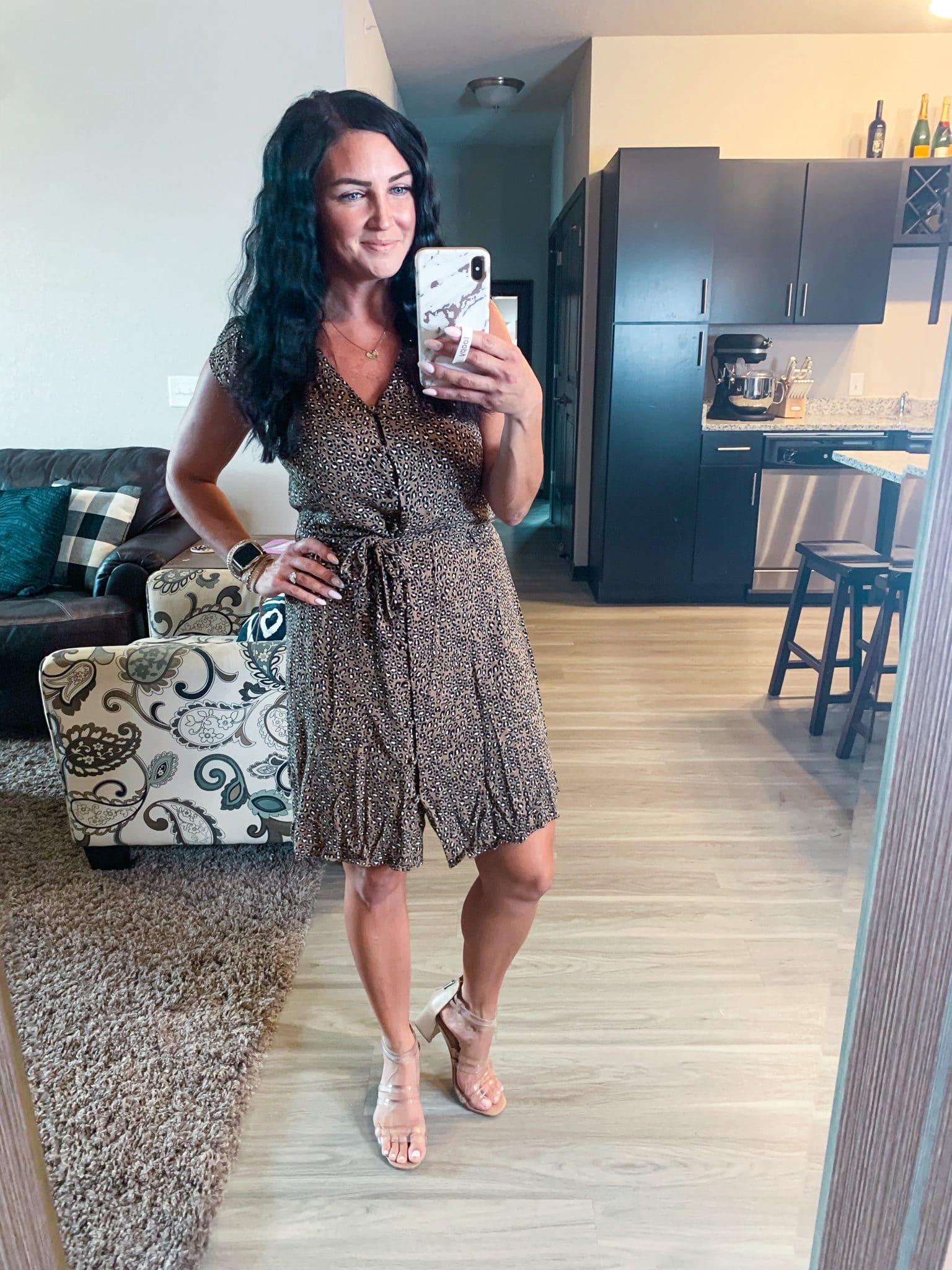 Leopard Dress, Amazon fashion Finds, #founditonamazon, Stilettos and Diapers, Molly Wey