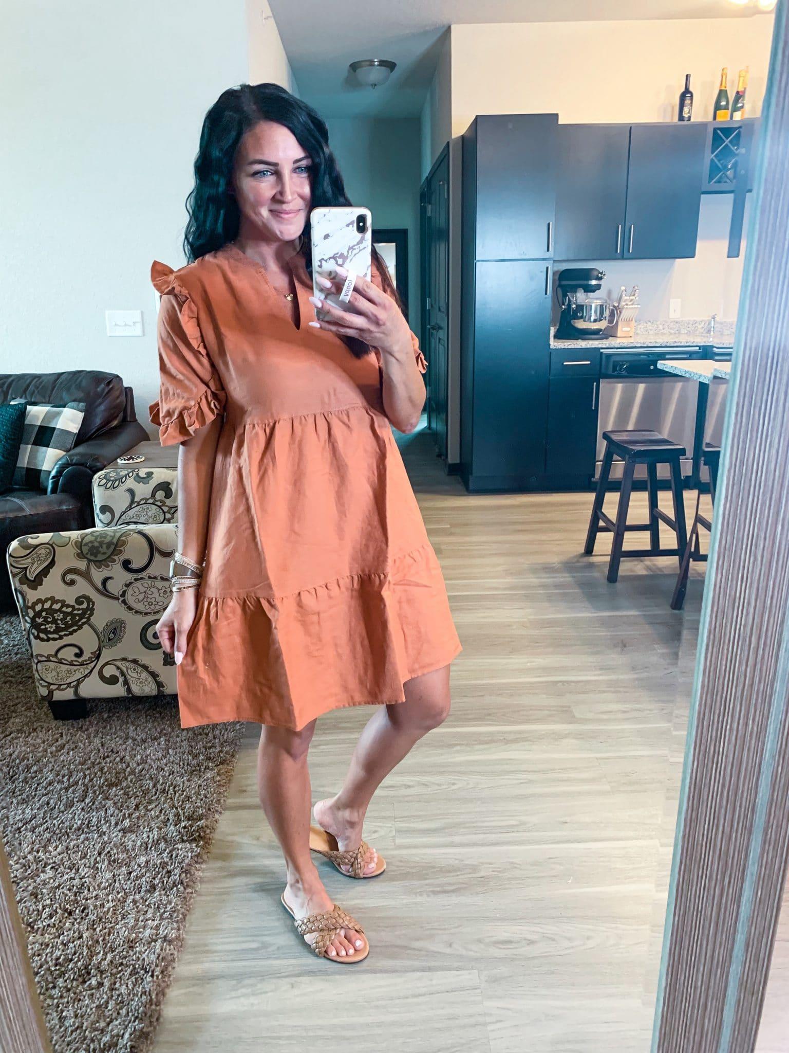 Linen ruffle dress, fall dress, Amazon fashion Finds, #founditonamazon, Stilettos and Diapers, Molly Wey
