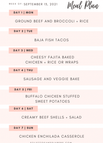 September Weekly Meal Plan, Family friendly meal plan, Stilettos and Diapers