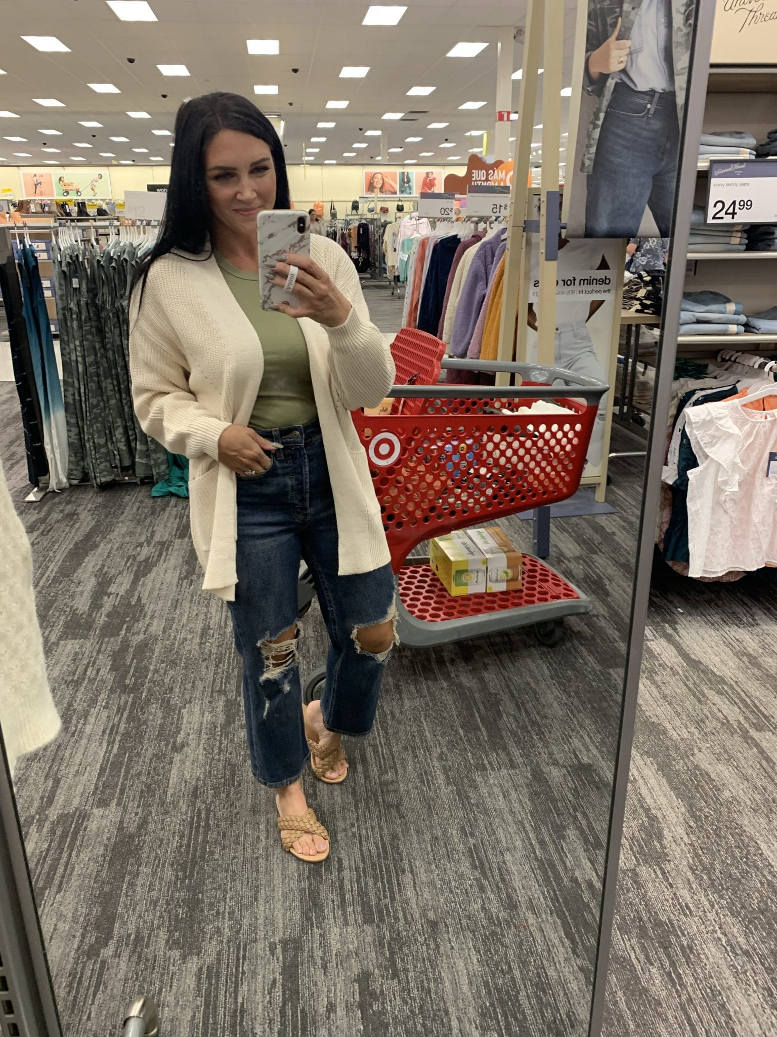 Boyfriend jeans, comfortable cardigan, Target Fall Haul, Best Target finds, Stilettos and Diapers