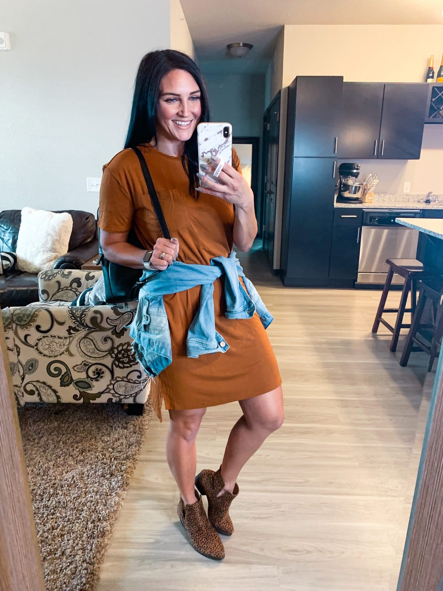 fall transition style, caramel color dress, Amazon Fall Finds, Fall romper, Stilettos and diapers, Molly Wey