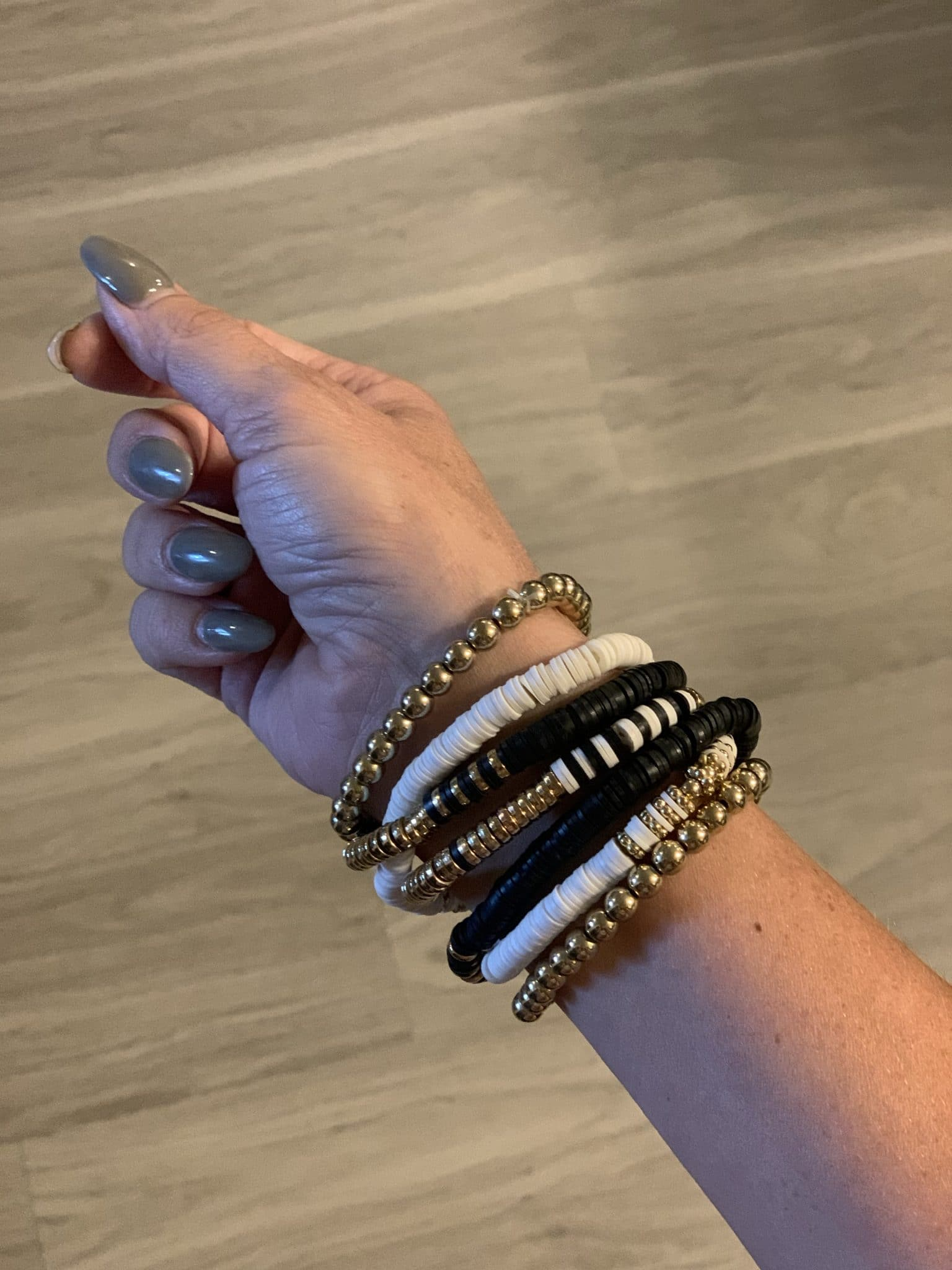 Black and Gold bracelet stack, Amazon accessories, Stilettos and Diapers