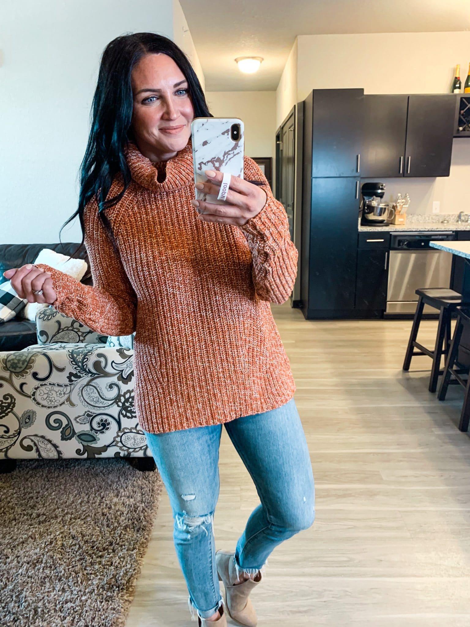 chunky knit sweater, fall sweater, Fall amazon fashion, #founditonamazon, Stilettos and Diapers
