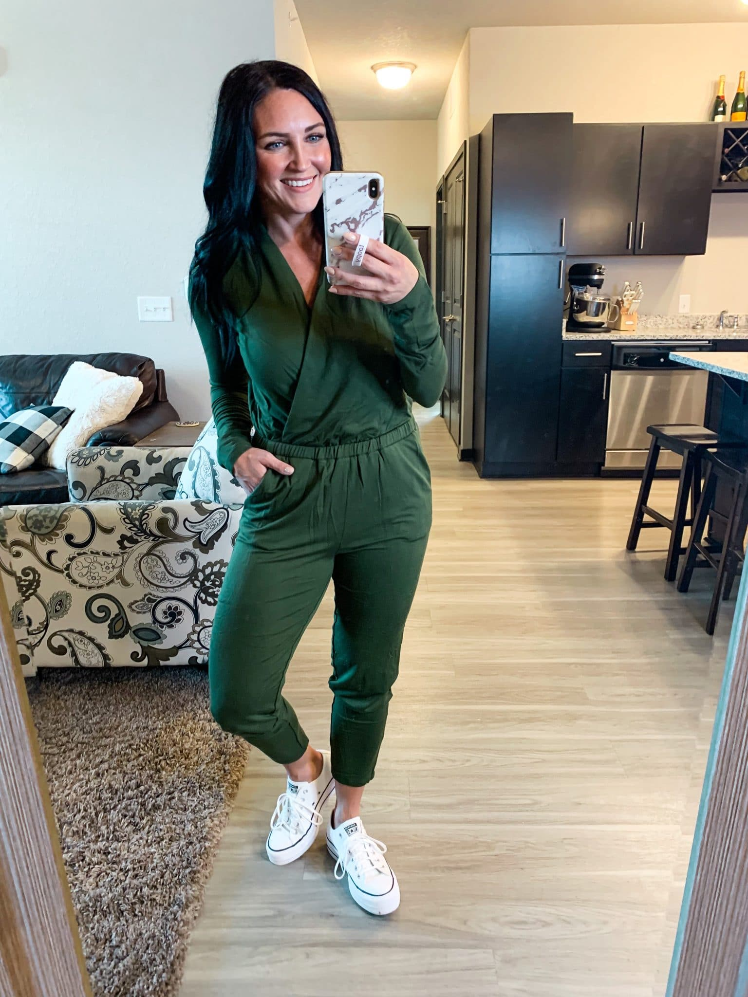 hunter green jumpsuit, fall jumpsuit, Fall amazon fashion, #founditonamazon, Stilettos and Diapers