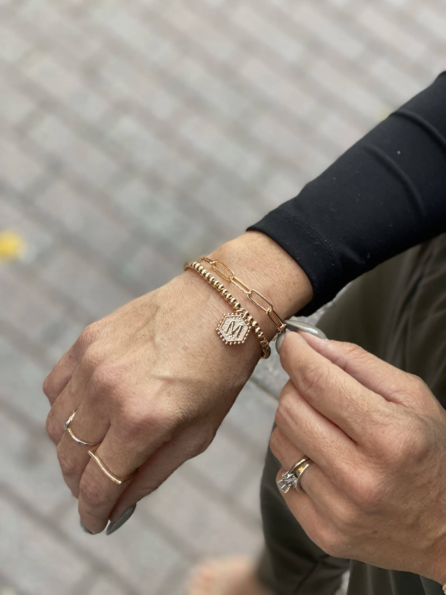 gold Monogram bracelet stack, Amazon accessories, Stilettos and Diapers