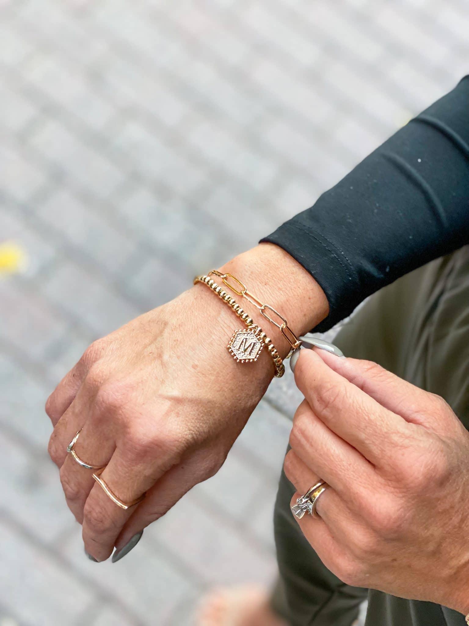 Monogram bracelet, Amazon jewelry finds, Christmas gift ideas, Stilettos and Diapers